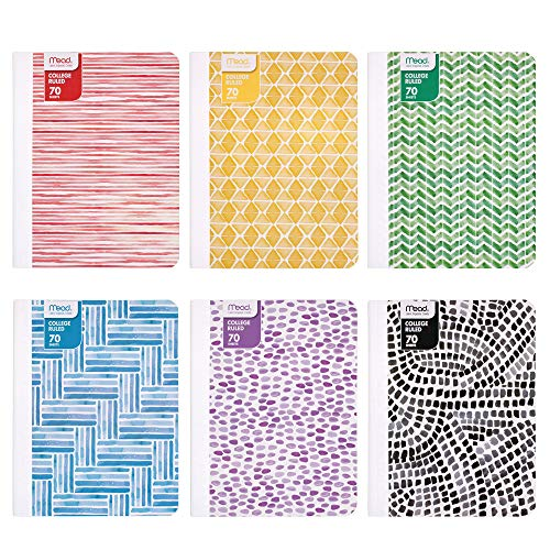 Mead Composition Books/Notebooks, College Ruled Paper, 70 Sheets, Fashion, Designs Selected For You, 12 Pack -