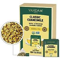 VAHDAM, ORGANIC Chamomile Herbal Tea (100 Tea bags) | 100% Natural Ingredients | Chamomile Tea | CAFFEINE FREE | Night…