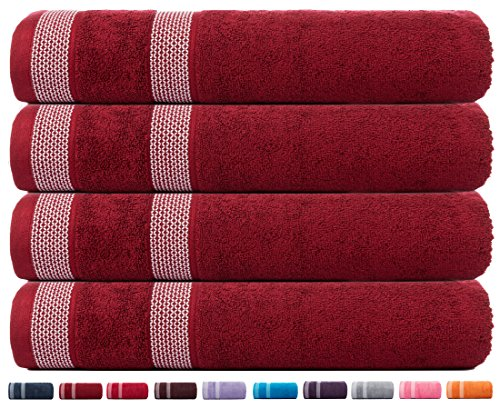 CASA COPENHAGEN Solitaire Cotton 4 Pack 30 inches by 60 inches 17.70 oz/yd² Thick Bath Towels Set - Beet Red