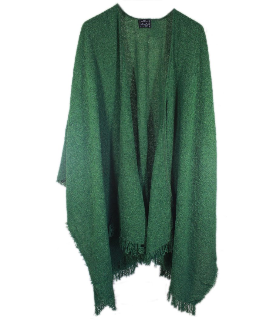 Wool Ruana Shawl Kerry Woollen Mills Kelly Green Irish Made by Kerry Woollen Mills