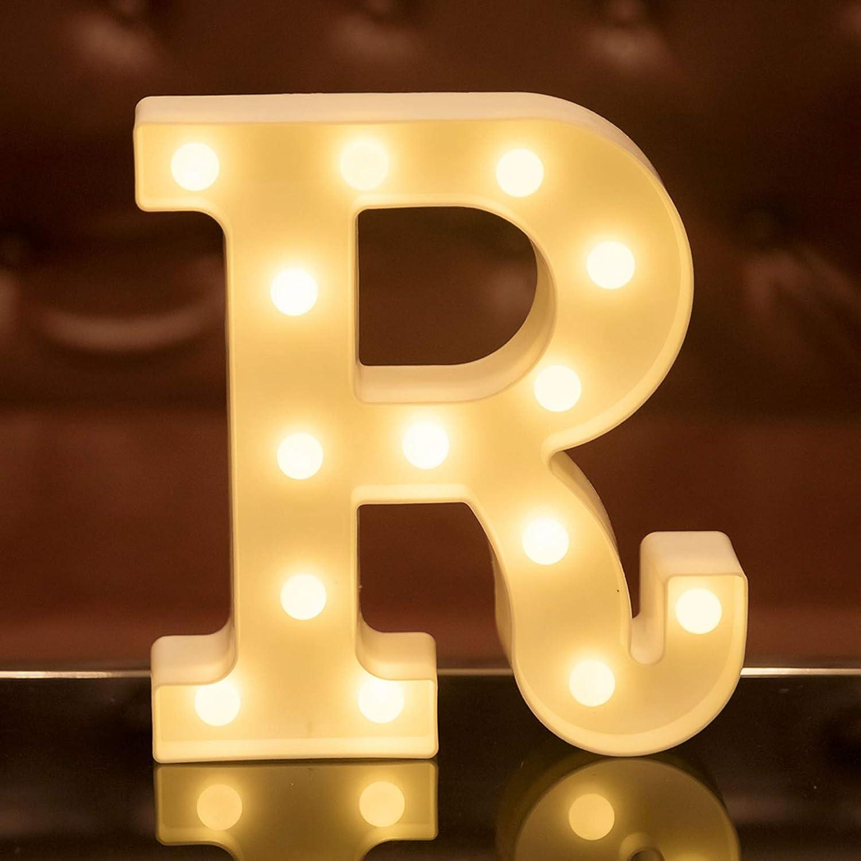 Focux LED Letter Lights Alphabet Light Up Sign for Night Light Home Party Birthday Wedding Bar Decoration LED Letter Battery Powered Christmas Night Light Lamp Home Bar Decoration (R)