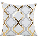 TOOPOOT Gold Foil Print Pillow Sofa Waist Cushion PillowCase