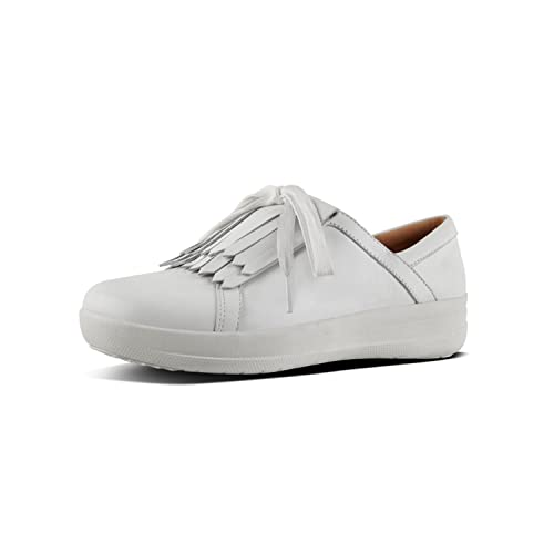 d7c4a585dbd7a Fitflop F-Sporty IITM Ladies Leather Fringe Trainers Urban White ...
