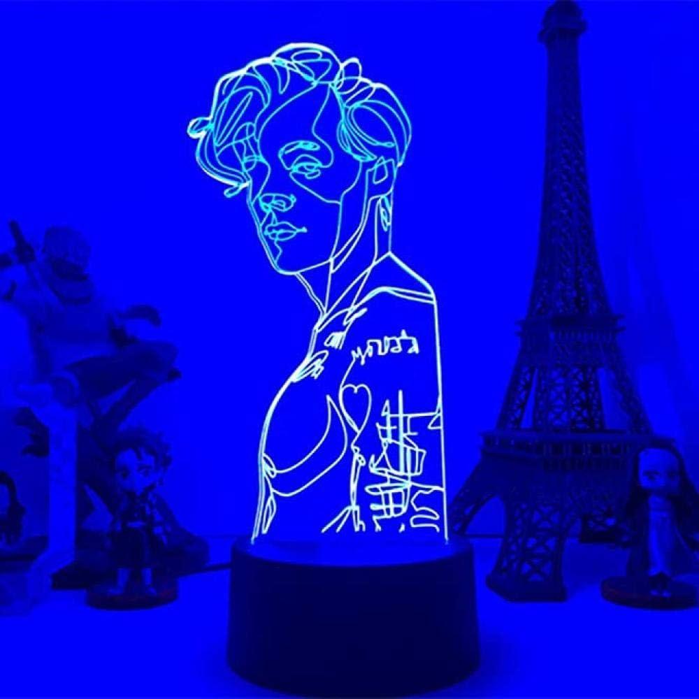 KATA 3D Night Light Harry Edward Styles Lamp Gift for Fans Bedroom Decor Led Touch Sensor Work Desk Lamp Harry Edward Styles Star Gift-Remote Control