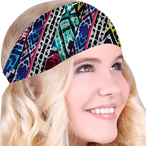 Choose From Over 30 Best No Slip Printed Headband Wicking Work Out Wide Yoga Running Cross fit Sports Comfortable Spandex Perfect Gift One Size Fits Most Made in USA … (Aztec Multi Print)