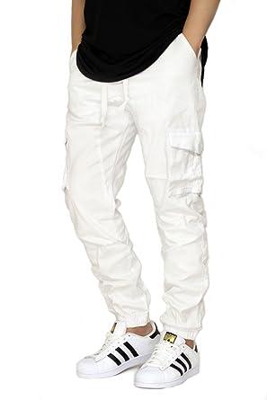 low priced 8af6d 2eafc URBANJ MEN S WHITE TWILL CARGO JOGGER PANTS ...