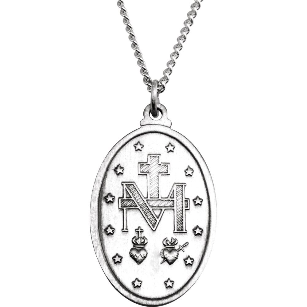 Jewels By Lux 925 Sterling Silver 23x16mm Oval Miraculous Medal 18 Necklace