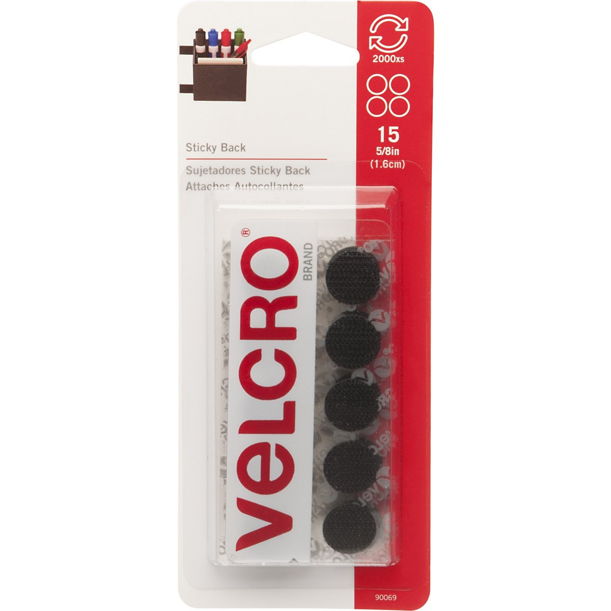VELCRO Brand - Sticky Back Hook and Loop Fasteners | Perfect for Home or Office | 5/8in Coins | Pack of 15 | Black VELCRO USA Velcro USA Inc. 90069