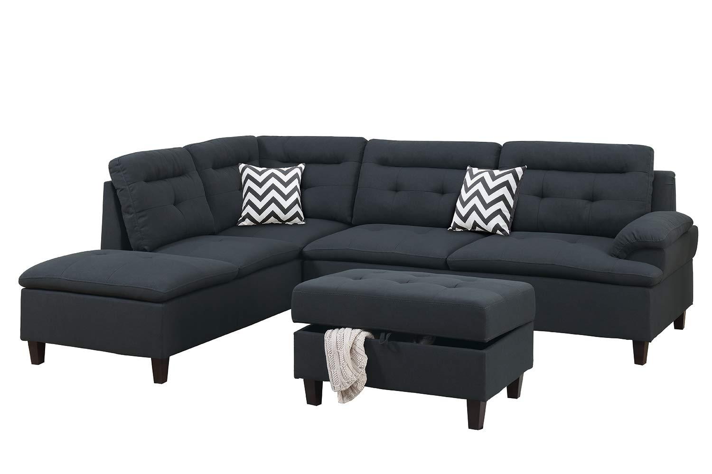 Bobkona Sectional Sofa Set, Black by BOBKONA