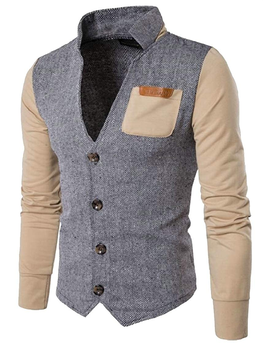jxfd Men Casual Slim Fit Knitted Cardigan Herringbone Patterned with Pocket
