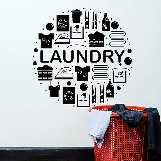 JXND Etiquetas de la Pared de lavandería, Ropa, Limpieza en seco ...