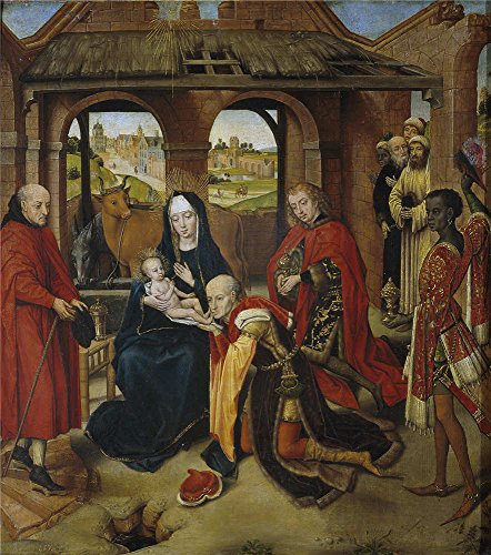 [high quality polyster Canvas ,the Imitations Art DecorativePrints on Canvas of oil painting 'Memling Hans (Copy Weyden Roger van der) La Adoracion de los Reyes Magos Second half of 15 Century ', 30 x 34 inch / 76 x 86 cm is best for Powder Room decoration and Home decoration and] (Hans Solo Costume Belt)