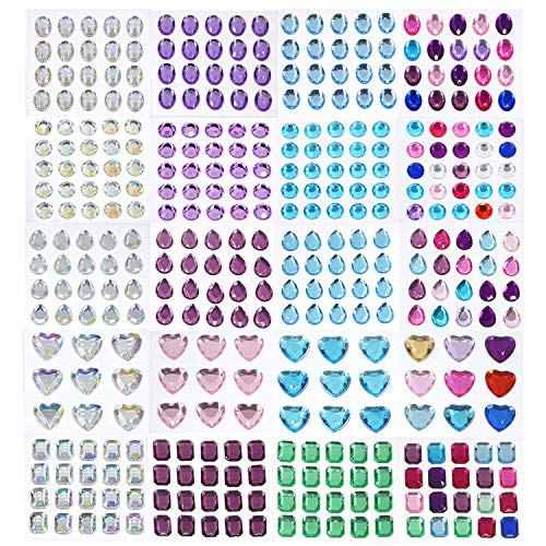 Lanpu 20 Sheets of Self-Adhesive Rhinestone Sticker Self Adhesive Jewels Rhinestone Gems Large Size Jewel Stickers for Face, Body, Makeup, Festival, Carnival, Crafts & - Gem Face Plate