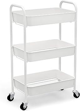 CAXXA 3-Tier Rolling Metal Storage Organizer - Mobile Utility Cart Kitchen Cart with Caster Wheels, White