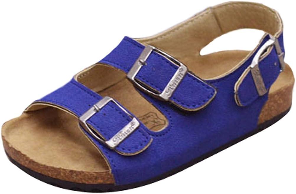 Mallimoda Girls Boys Buckle Strap Cork Footbed Flat Sandals