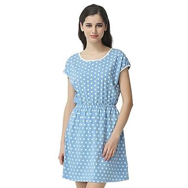 e9e8179e20d2 QIANXIU Lady Cute Dot Print Nightgowns Comfortable Summer Pajamas ...