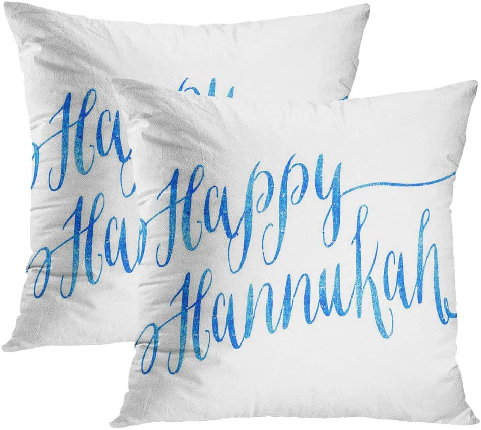 Moladika Hanukkah Set of 2 Throw Pillow Covers Square 18 X 18 Inch Happy Hannukah Chanukah Blue Faux Cushion Home Decor Living Room Office Polyester Pillowcase