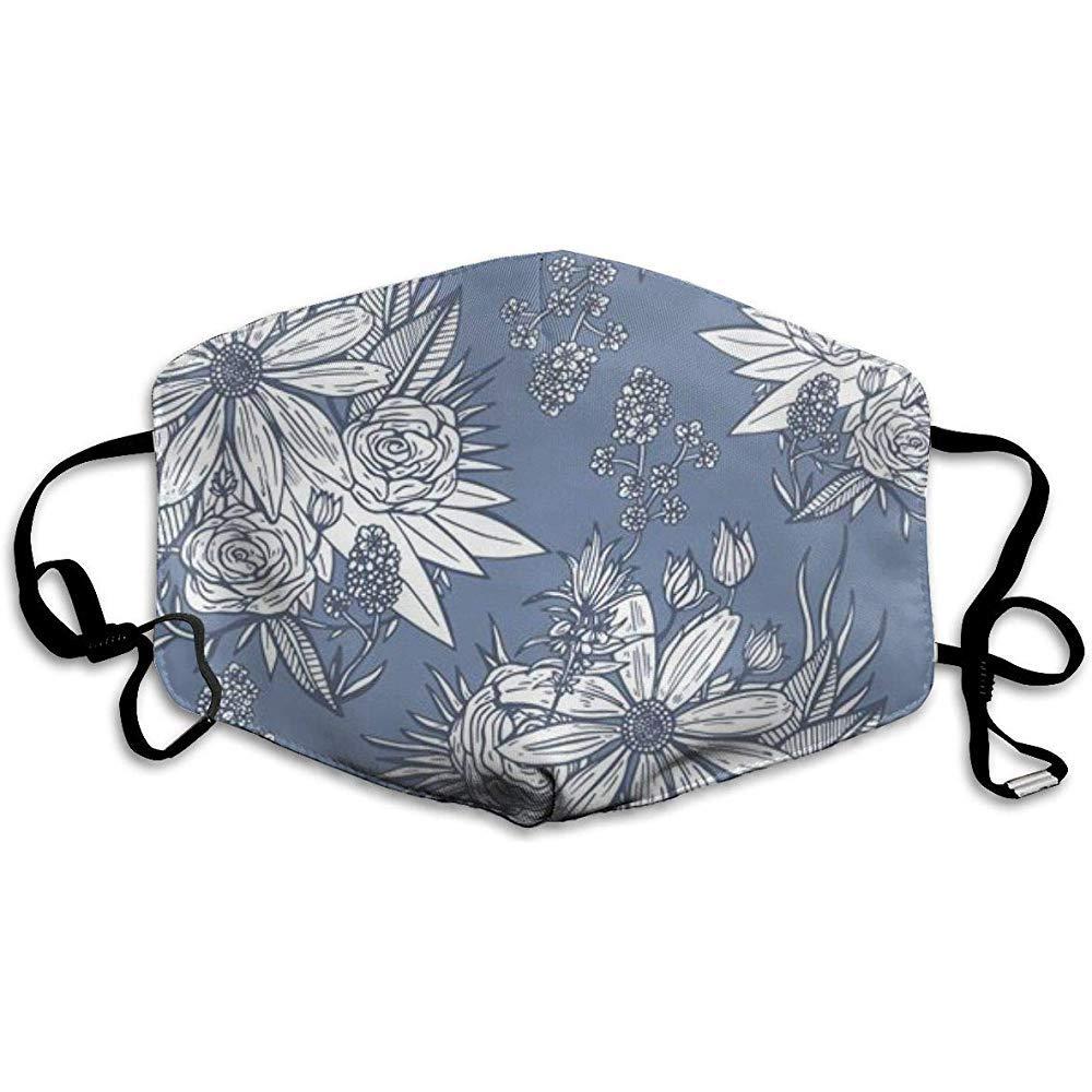 Lindo patrón Floral Vintage máscaras bucales Unisex Antipolvo Gripe Lavable Reutilizable mascarilla diseño de Moda para Mujeres Hombres