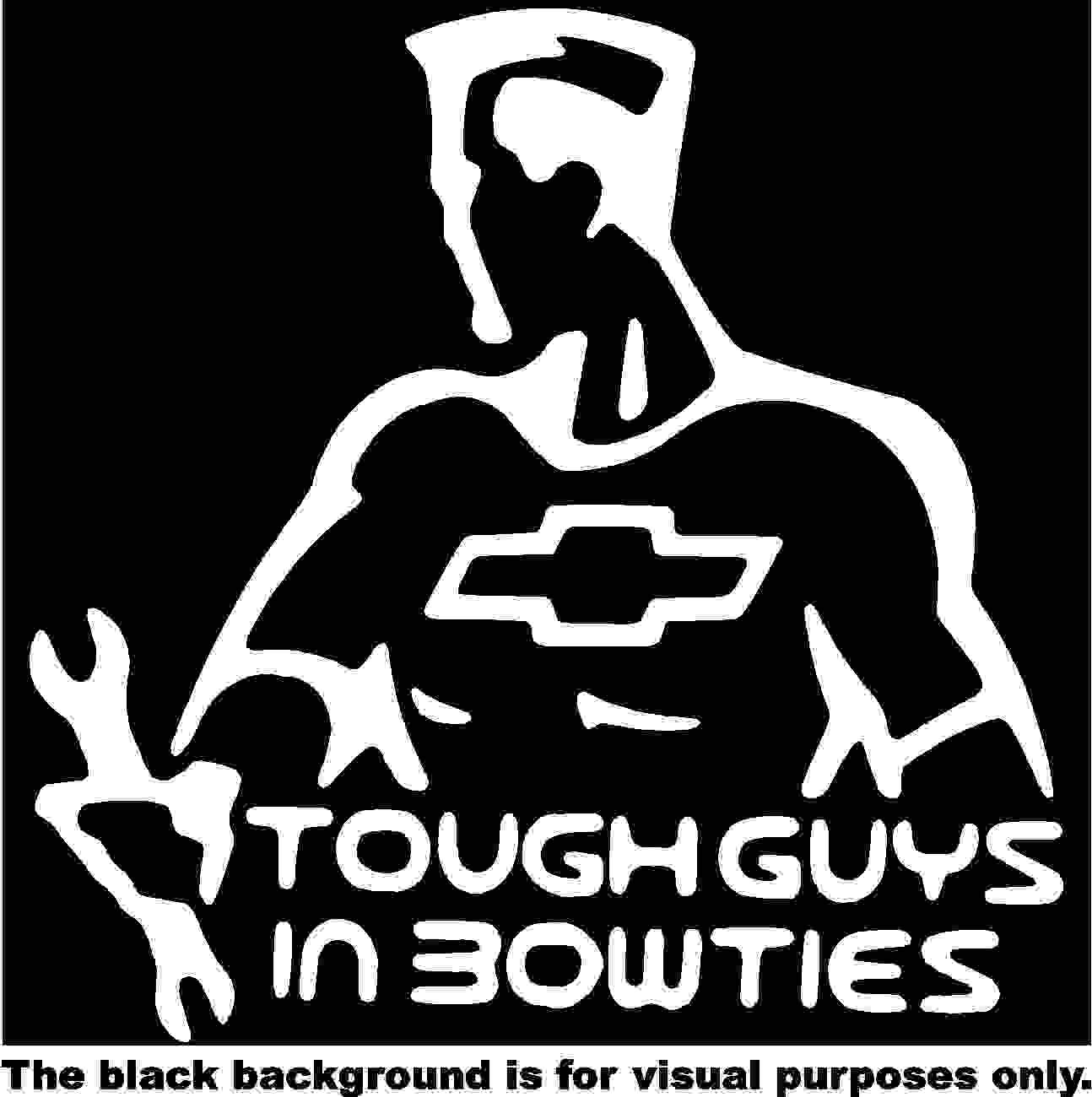 Tough Guys in Bow Ties Decal Sticker Vinyl Car Window Tumblers Wall Laptops Cellphones Phones Tablets Ipads Helmets Motorcycles Computer Towers V and T Gifts