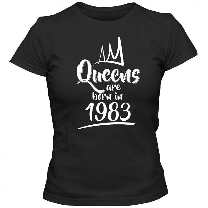 Queens Are Born in 1983 T-Shirt Geburtstags-Shirt Jahrgang 34. Geburtstag  Frauen Shirt: Amazon.de: Bekleidung
