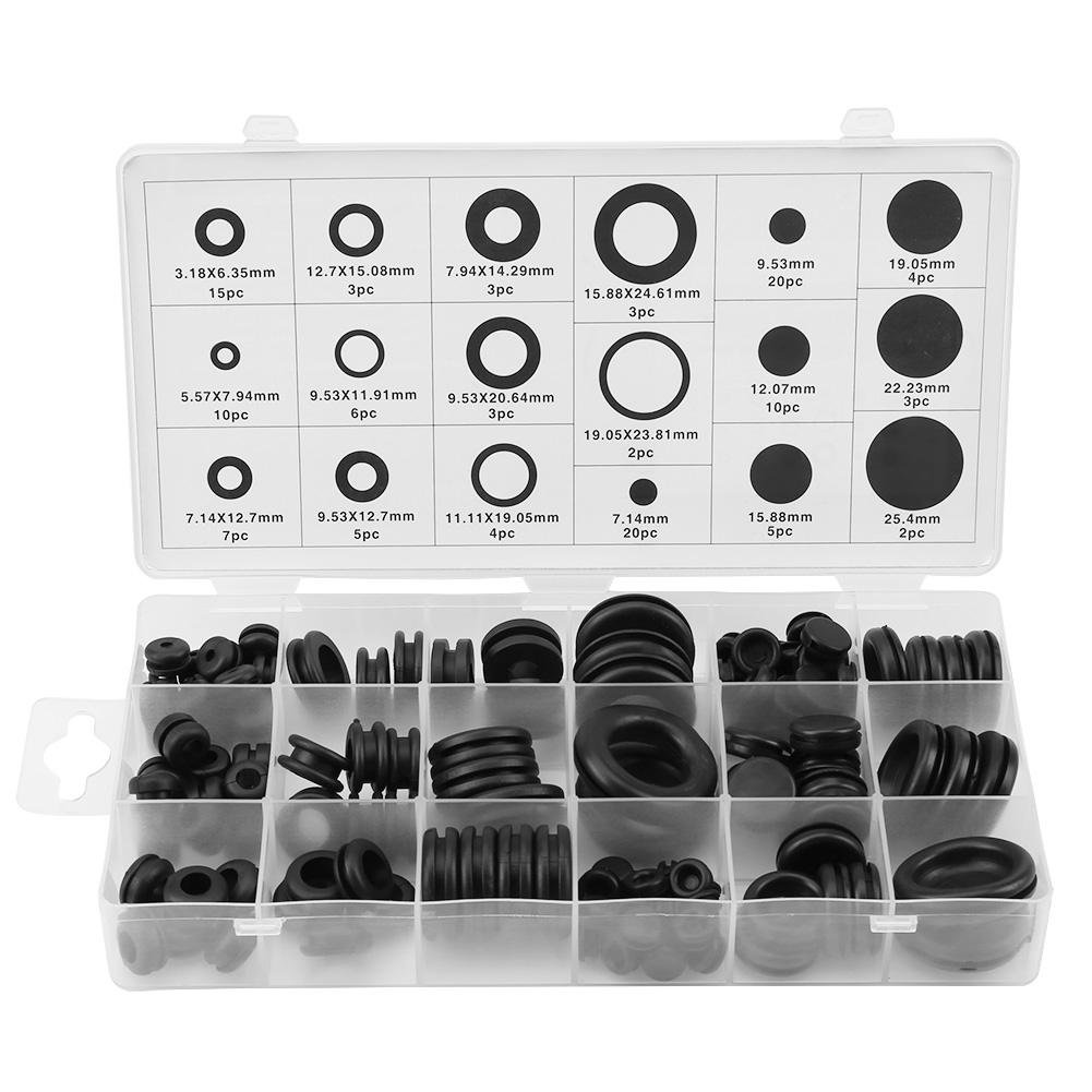 Xinrub Rubber Grommet, 125 Pcs O-Ring Sealing Gasket Wire Ring Electrical Gasket Washer Seal Assortment for Plumbing, Automotive, General Repair