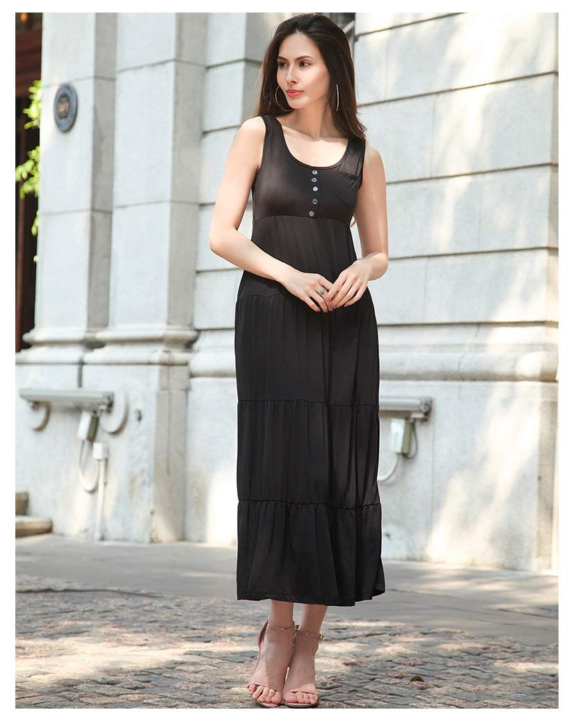 color1 CARRY Dress, Europe and America, Comfortable and Soft, Ladies Cocktail Dress, Solid color, Big Dress, Bohemian Casual Beach, Pleated Dress (color   color1, Size   L)