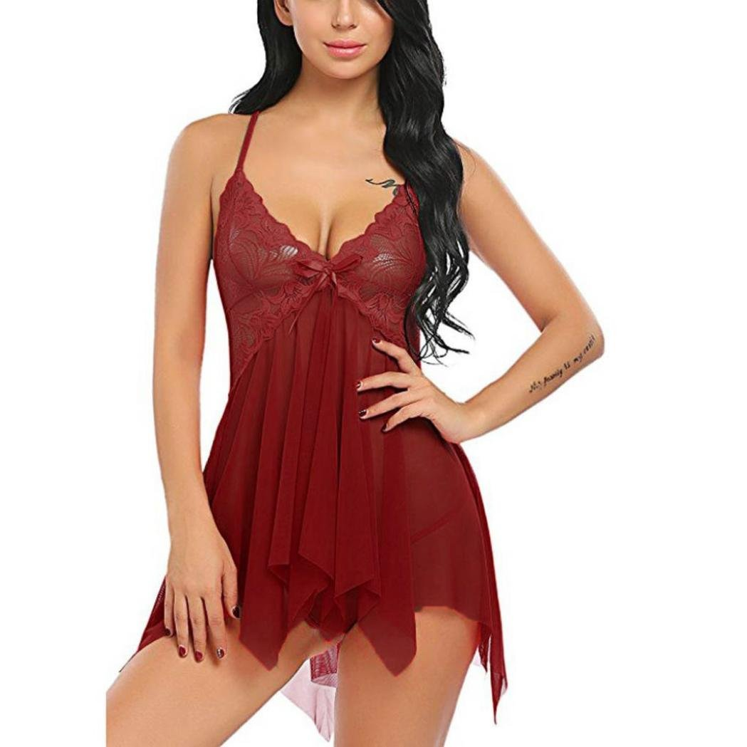Amazon.com  Malbaba Women Lingerie Flower Lace Lingerie Babydoll V Neck  Sleepwear Strap Chemise Nightwear Sexy Underwear Wine Red  Clothing 5b9ddb84c