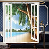 gazebo curtains home depot Wanranhome Custom-made shower curtain r for Gazebo Theme Curtainss Palm Tree Beach House with Wooden Windows and Panoramic Art Pictures Blue Green White Brown For Bathroom Decoration 69 x 90 inches