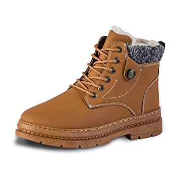 ecefee82b0 Fiaya Men s Winter Leather Snow Boots Waterproof Lace Up High Top Fur Lined  Warm Casual Sneakers
