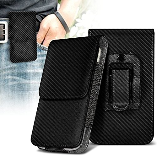 (I-Sonite (Carbon Black) Premium Vertical Faux Leather Belt Holster Pouch Cover Case with Magnetic Closure for Blackview Zeta [XL ])