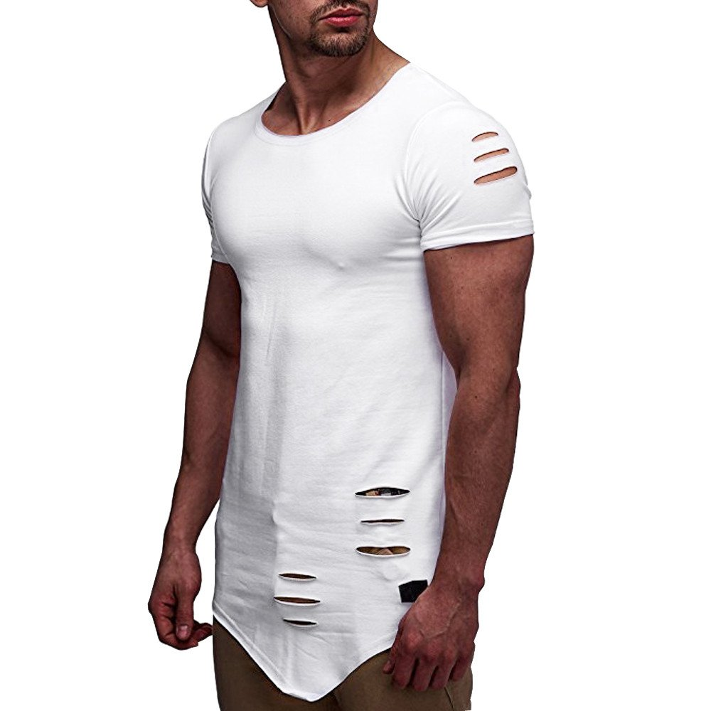 AMOFINY Mens Tops Personality Hole Casual Slim Short-Sleeved Shirt Top Blouse