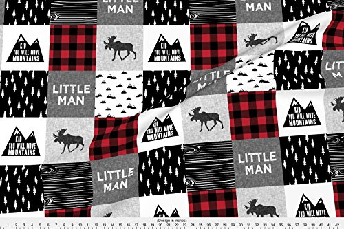 Moose Fabric Little Man & You Will Move Mountains Quilt Top - Buffalo Plaid by Littlearrowdesign Printed on Basic Cotton Ultra Fabric by the Yard by (Little Quilts Fabric)