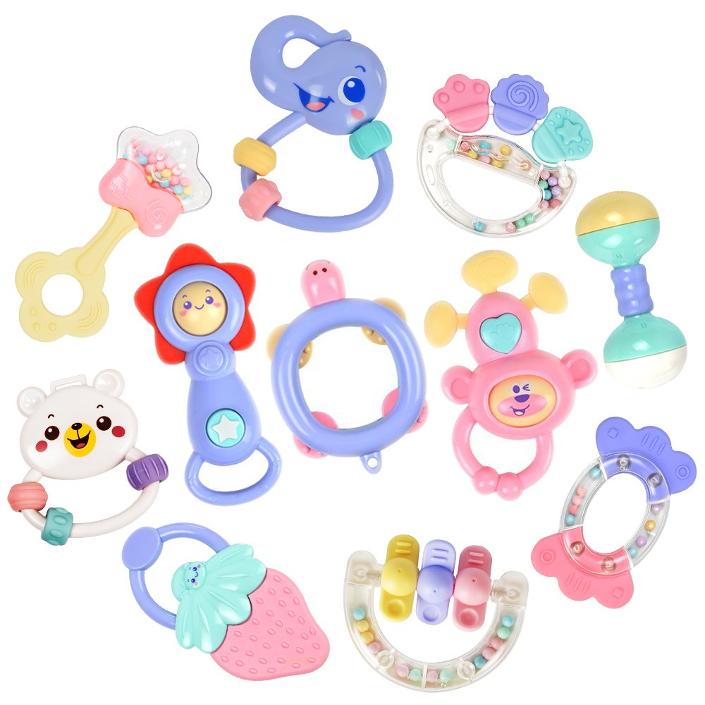 11pcs Baby Rattles Teethers Infant Toys, Grab Toys, Musical Toys, Shaking Bell Rattle Set with Storage Box, BPA Free Toys for Infant, Newborn, Babies, Toddler (8 Rattles Teether Set + 3 Musical Toys)