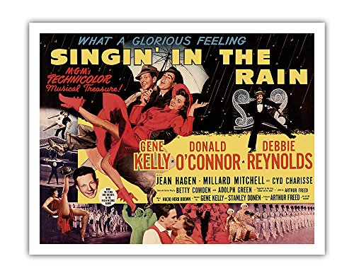 Pacifica Island Art Singin' in the Rain - Starring Gene Kelly, Donald O'Connor, and Debbie Reynolds - Vintage Film Movie Poster c.1952 - Fine Art Print - 11in x 14in ()