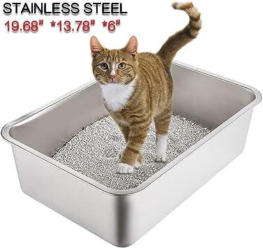 Amazon.com: Yangbaga Caja de arena de acero inoxidable para ...
