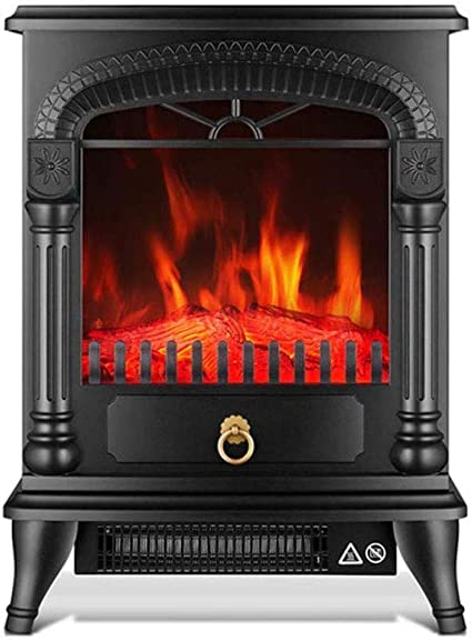 NFJ Chimenea Eléctrica Radiador LED Bajo Consumo Calefactor Eléctrico De Pie Calefacción Silenciosa Temperatura Ajustable 1800 W Simulación De Fuego, A: Amazon.es: Jardín