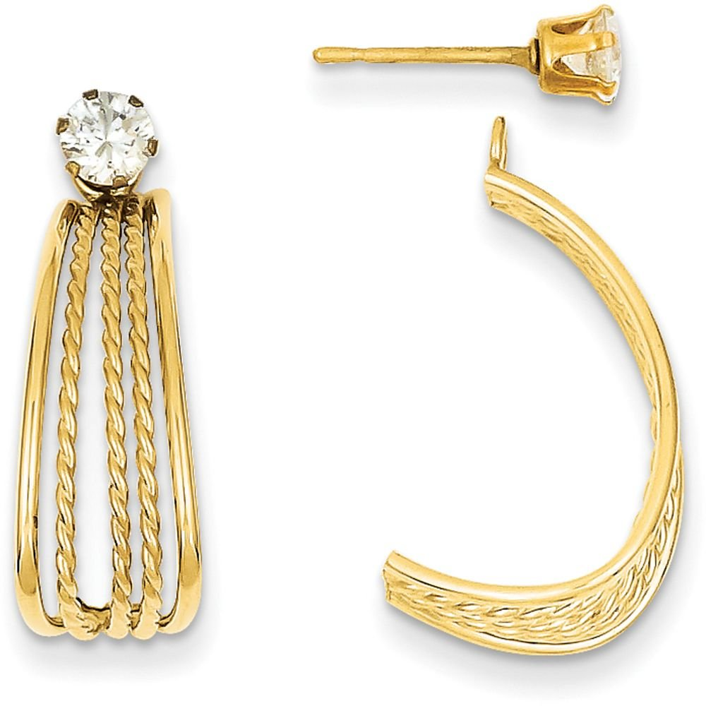 14k Gold Polished and Rope Textured J-Hoop Jackets with CZ Stud Earrings (0.79'' Height) - Yellow-Gold