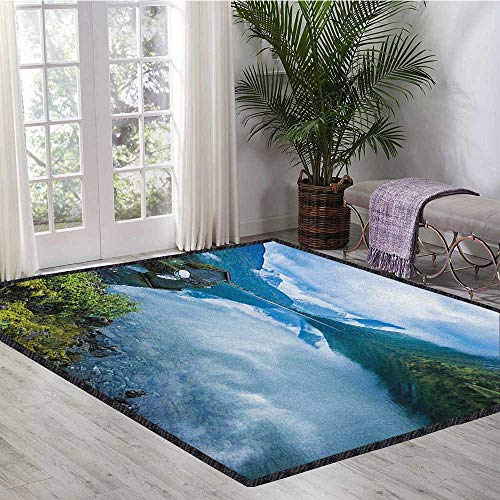 Nature Home Decor Mats,Landscape Photography with Wooden Cabins Clear River and Mountains Norway Europe Chic Pattern Anti-Static Blue Green 55