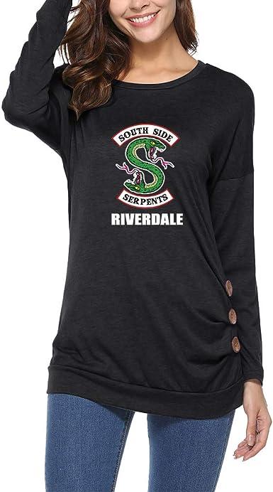Riverdale Camisetas Manga Larga Mujer Remeras Popular Plisado Camisa Caída Poleras con Botones Top ImpresiÓN Blusas De Señora T Shirt: Amazon.es: Ropa y accesorios