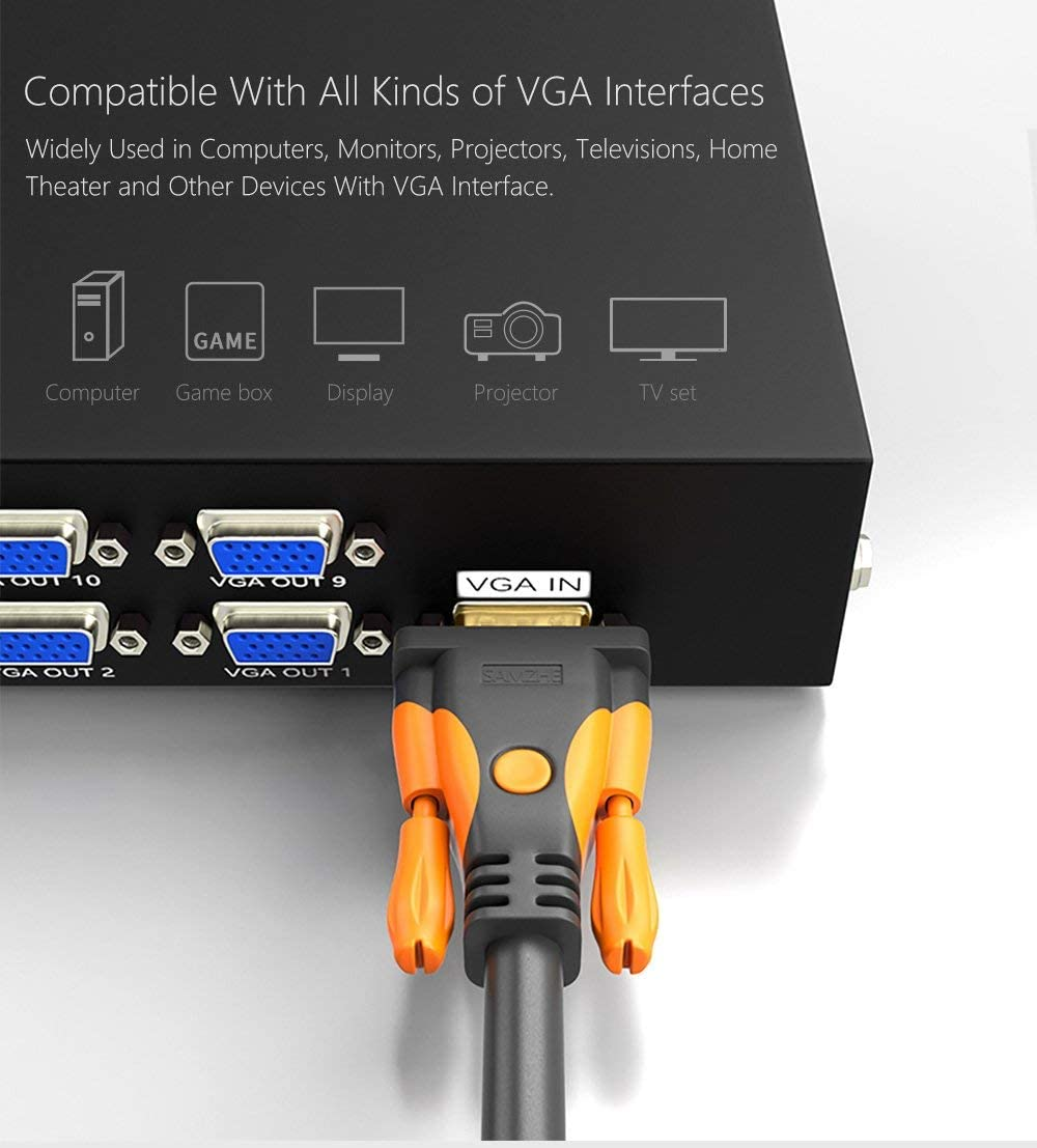 5 Meter Displays VGA Cable VGA Male to Male Video Coaxial Monitor Cable with Ferrite Cores Gold Plated Compatible for Projectors HDTVs