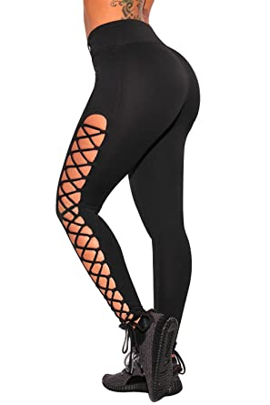 30f7ecc2085403 G-Fengshang Women's High Waist Lace Up Leggings Skinny Yoga Sports Pants:  Amazon.co.uk: Clothing