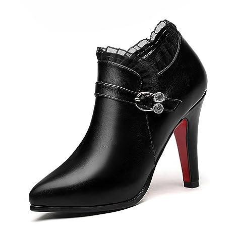 e9b5a791 Zapatos para mujer HWF Zapatos de tacón de Aguja de Cuero Puntiagudos  Zapatos de Dama de