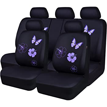 AUTOFAN Women Pink Flower Embroidery Full Set Car Seat Covers Airbag Compatible Black Fit