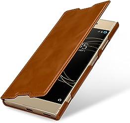 StilGut Book Type sans Clip, Housse en Cuir pour Sony Xperia XA1 Plus. Etui de Protection pour Sony Xperia XA1 Plus à Ouverture latérale, Cognac