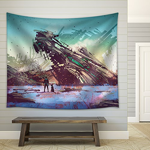 Illustration Spaceship Crashed on Blue Field Illustration Painting Fabric Wall Tapestry