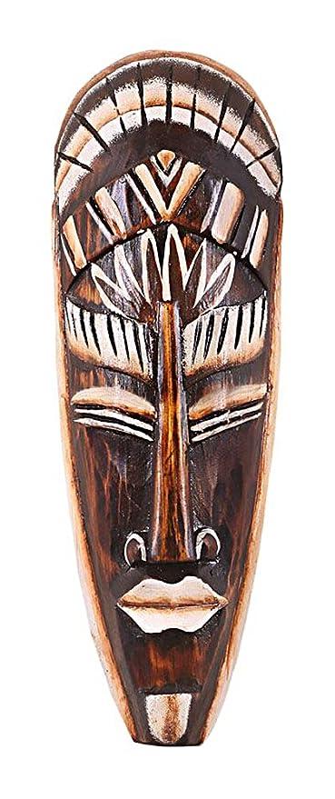 Máscara Madera Máscara Bali 6 pared decoración madera de albesia marrón, altura de 30 cm