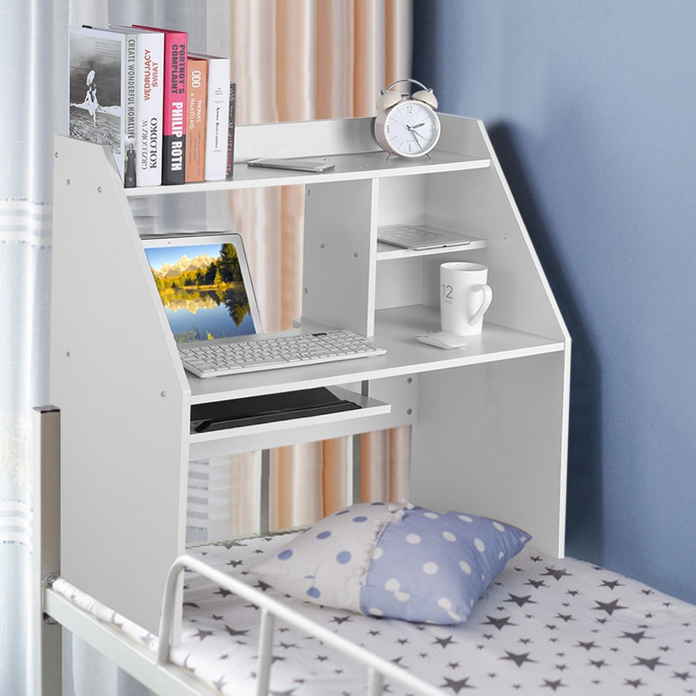 Dwawoo Wooden Storage Shelf, Multifunction Bed Computer Laptop Desk Bed Table for Dormitory Bedroom and More(White) by Dwawoo (Image #2)