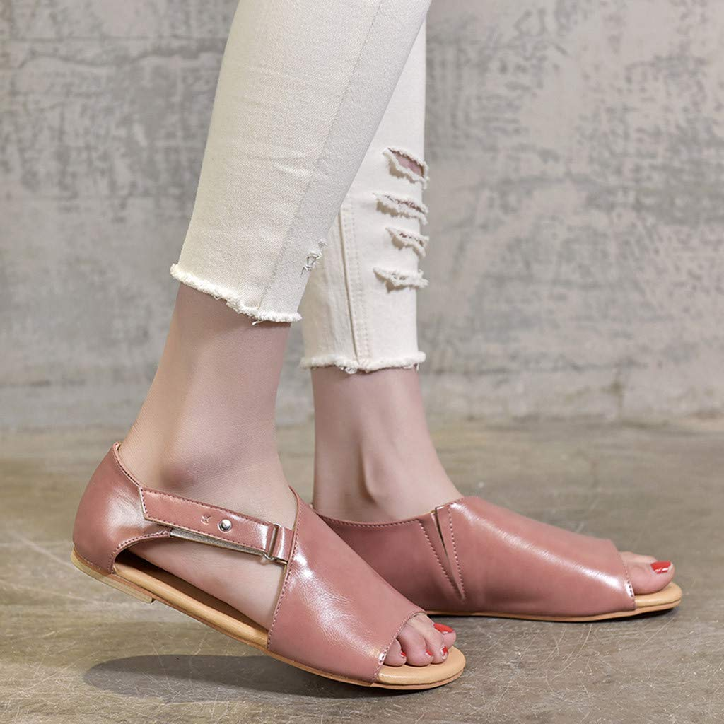 Lurryly Women Summer Peep Toe Beach Breathable Flat Solid Color Sandals Rome Shoes