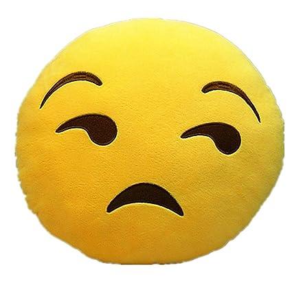 Katherine Shops APP Emoji Emoticono amarillo cojín redondo almohada peluche de peluche 13.8 ...