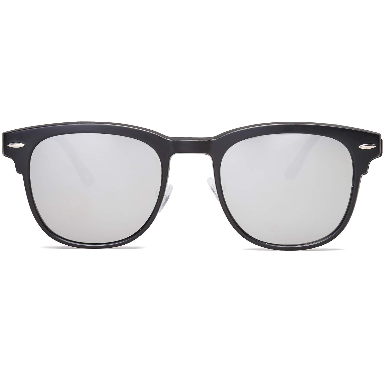 16c74978ec2 Amazon.com  VANLINKER Clip-on Sunglasses Polarized Magnetic Lens Clear Lens  Eyeglasses VL9013 C6 Shine Black Frame Silver Polarized Lens  Health    Personal ...